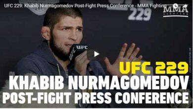 Photo of Khabib Nurmagomedov se disculpa después de la pelea de UFC 229