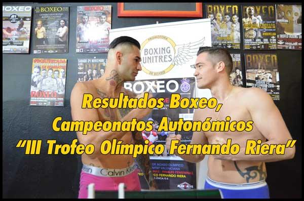 """Photo of Resultados Boxeo, Campeonatos Autonómicos """"III Trofeo Olímpico Fernando Riera""""."""